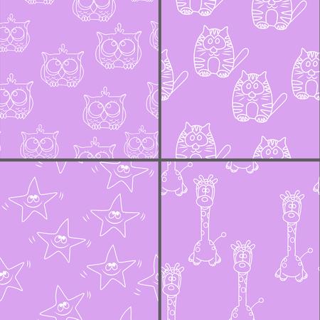 Set Funny Seamless pattern with cat, giraffe, owls. Baby vector pattern. Cartoon vector seamless wallpaper.