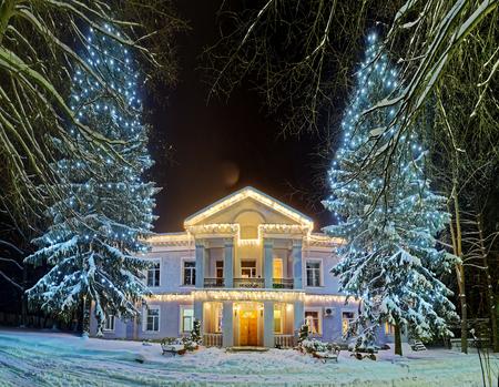 冬の休暇中に美しい装飾が施された通り