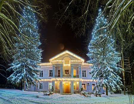 Beautiful decorated street during the winter holiday Stockfoto