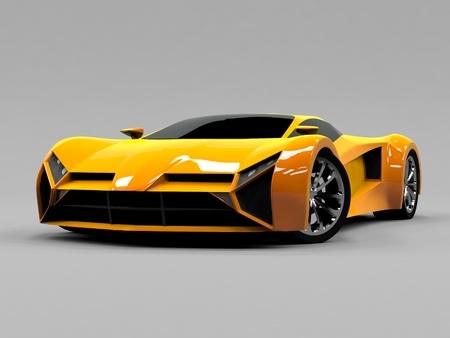 Oranje sportwagen premie. Conceptueel ontwerp. Een prototype van snel transport van de toekomst. Geavanceerde engineering technologie. De machine voor motorsport. ring-race Stockfoto