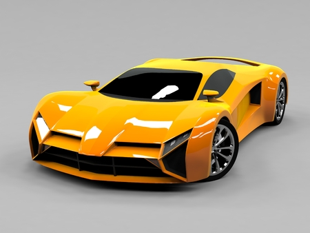 prototype: Orange sports car premium. Conceptual design. A prototype of fast transport of the future. Advanced engineering technology. The machine for motorsport. Ring race