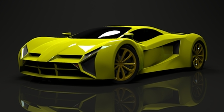 prototype: Big shiny sports car premium. Conceptual design. A prototype of fast transport of the future. Advanced engineering technology. The machine for motorsport. Ring race. The acid-green body color