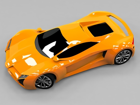 prestige car: Orange sports car premium. Conceptual design. A prototype of fast transport of the future. Advanced engineering technology. The machine for motorsport. Ring race
