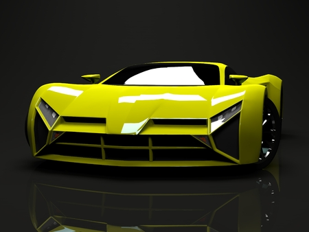 motorsport: Big shiny sports car premium. Conceptual design. A prototype of fast transport of the future. Advanced engineering technology. The machine for motorsport. Ring race. The acid-green body color