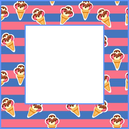vanilla ice cream: Ice Cream vector illustration  Background of strawberry and vanilla Ice Cream dessert