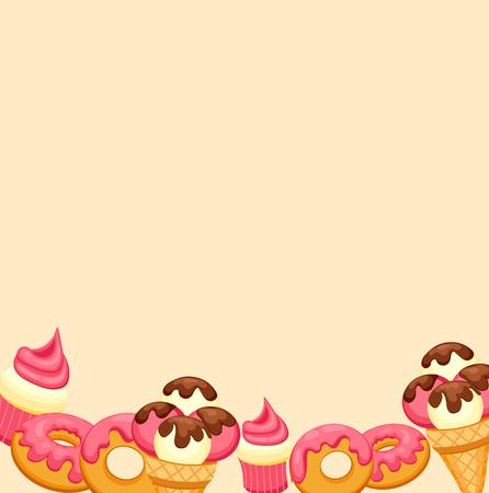 vanilla ice cream: Background vanilla Ice Cream, strawberry Cupcake and donut with pink glaze. Vector Illustrationfor your design Illustration
