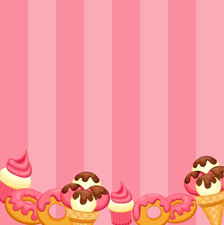 vanilla ice cream: Background vanilla Ice Cream, strawberry Cupcake and donut with pink glaze.