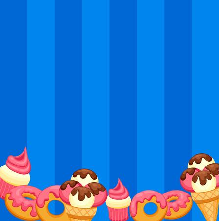 sorbet: Background vanilla Ice Cream, strawberry Cupcake and donut with pink glaze.
