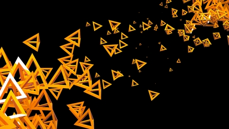 pyramidal: Glossy pyramidal frame in random order hanging in the air on a black background. Abstract illustration with pyramids. A cloud of yellow shiny pyramids