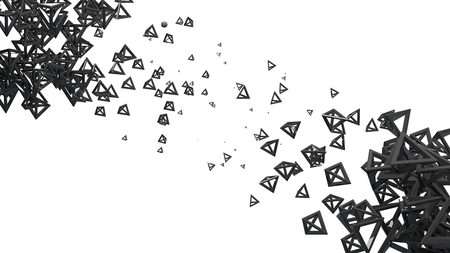 pyramidal: Glossy pyramidal frame in random order hanging in the air on a white background. Abstract illustration with pyramids. A cloud of black shiny pyramids Stock Photo