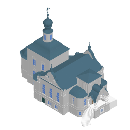 church 3d: Church building Isometric 3D icon. Vector illustration eps 10