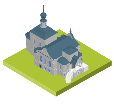 overhang: Church building Isometric 3D icon. Vector illustration eps 10