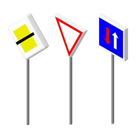 two roads: Isometric icons various road sign. European and american style design. Vector illustration eps 10