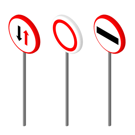 educative: Isometric icons various road sign. European and american style design. Vector illustration eps 10