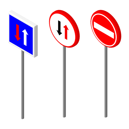 two way: Isometric icons various road sign. European and american style design. Vector illustration eps 10