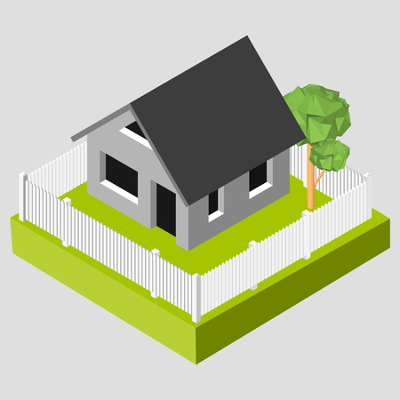 white fence: Isometric 3D icon. Pictograms house with a white fence and trees. Vector illustration eps 10. Illustration