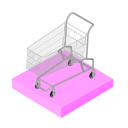supermarket trolley: Isometric 3D icon. Pictograms supermarket trolley. Vector illustration eps 10