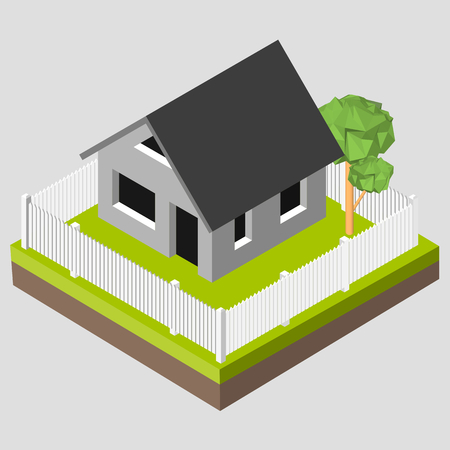 Isometric 3D icon. Pictograms house with a white fence and trees. Vector illustration eps 10. Illustration