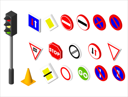 Isometric icons various road sign and traffic light. European and american style design. Vector illustration eps 10 Illustration