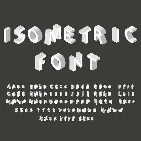 White isometric font alphabet. Vector illustration eps 10