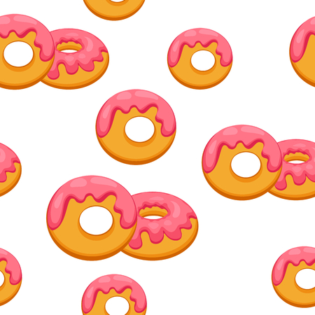 glaze: Pattern donut with pink glaze. Vector Illustration eps 10. Illustration