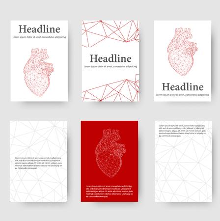 Fondo creativo astratto di vettore di concetto del cuore umano. Carta intestata e brochure in stile design poligonale per il business. Vector Illustration eps 10 per la progettazione