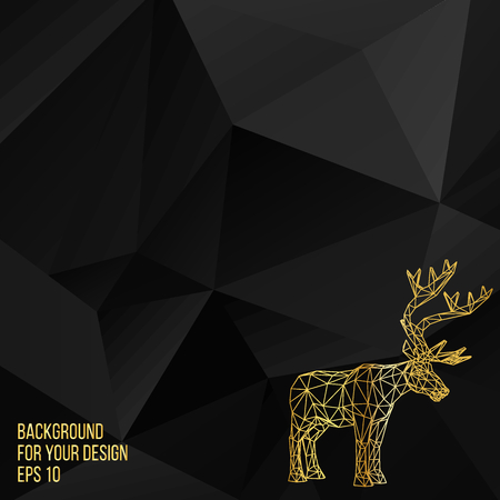 buck: Vector illustration big tail buck. The structural grid of polygons. Abstract Creative concept deer vector background. Molecular lattice. Polygonal design style letterhead and brochure Illustration