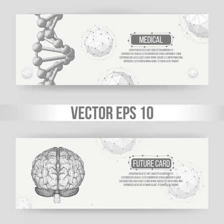 hojas membretadas: Concepto del fondo del vector abstracto creativo del cerebro humano. Poligonal con membrete estilo de diseño y un folleto para los negocios. Ilustración vectorial eps 10 para su diseño