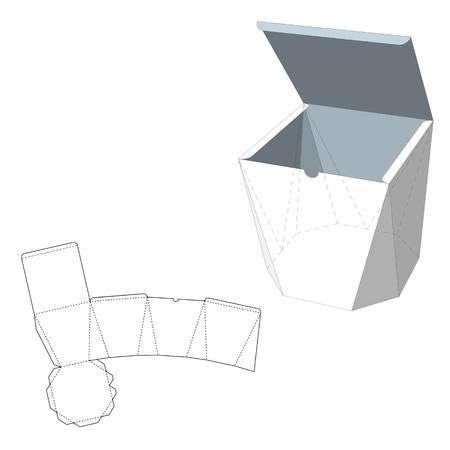 死ぬカット テンプレート ボックス。梱包箱の食品、ギフト、またはその他の製品。白い背景に分離されました。あなたの設計のために準備ができて