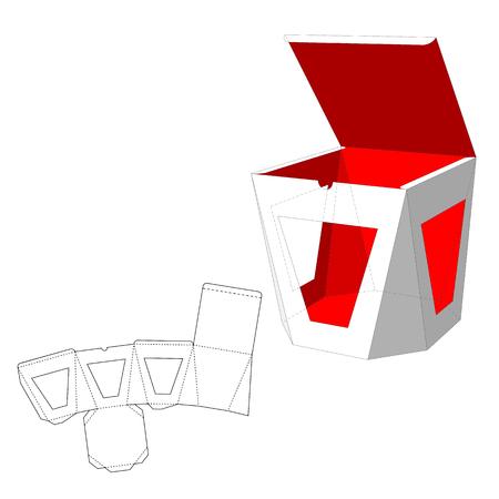 Caja con ventanas Die plantilla de recorte. Caja de embalaje para la comida, regalo u otros productos. Sobre fondo blanco aislado. Listo para su diseño. Embalaje de Producto vectorial EPS10.