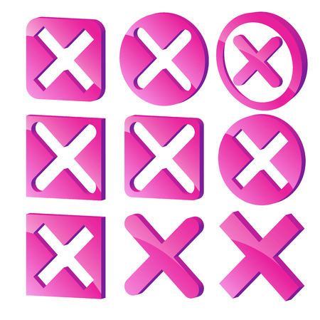 x marks: Various three dimensional x marks. 3D Cross marks Illustration