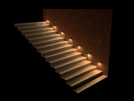 lighting: Modern staircase with backlit steps. Soft night lighting