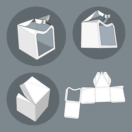 ready to cut: Box with Die Cut Template. Packing box For Food, Gift Or Other Products. On White Background Isolated. Ready For Your Design. Product Packing Vector EPS10 Illustration