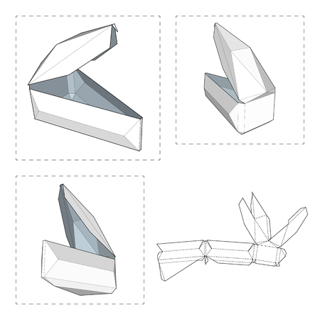 Box with Die Cut Template. Packing box For Food, Gift Or Other Products. On White Background Isolated. Ready For Your Design. Product Packing Vector EPS10 Illustration
