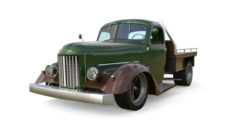 restored: Old restored pickup. Pick-up in the style of hot rod. 3d illustration