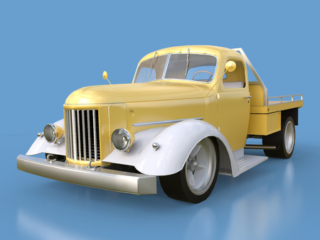 restored: Old restored pickup. Pick-up in the style of hot rod. 3d illustration. Golden-white car on a blue background