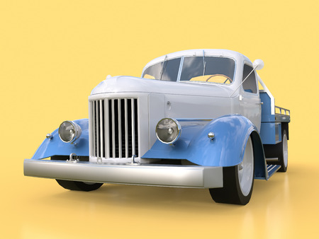restored: Old restored pickup. Pick-up in the style of hot rod. 3d illustration. White and blue car on a yellow background