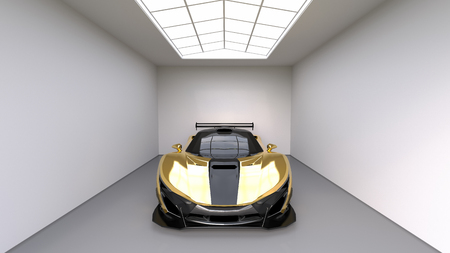 yellow car: Sports car front view. The image of a sports yellow car on a studio room. 3d illustration Stock Photo