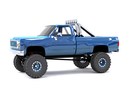training wheels: A large blue pickup truck off-road. Full off-road training. Highly raised suspension. Huge wheels with large spikes for rocks and mud. 3d illustration