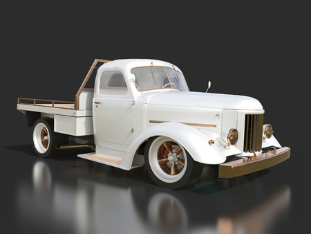 restored: Old restored pickup. Pick-up in the style of hot rod. 3d illustration. White car on a black background Stock Photo