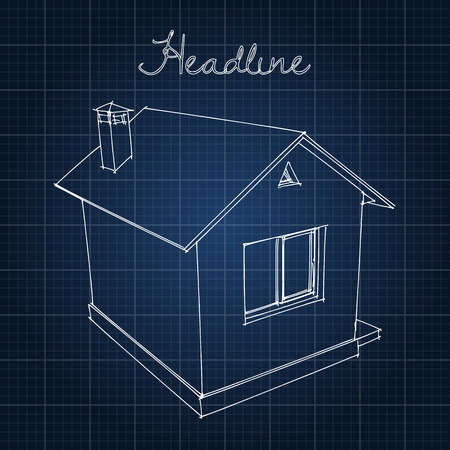 grid background: Drawing of the home on a blue background
