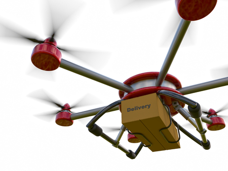 remote view: Red and gray hexacopter isolated on a white background. Shipping to home. Flying courier. 3d illustration