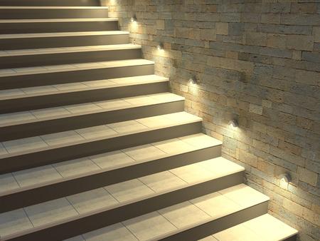 バックライト付きの手順でモダンな階段です。ソフトな夜の照明。3 d イラストレーション