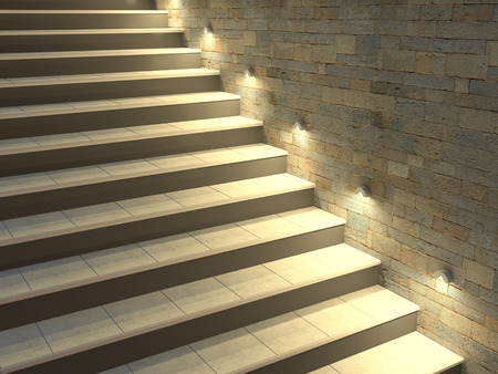 Modern staircase with backlit steps. Soft night lighting. 3d illustration