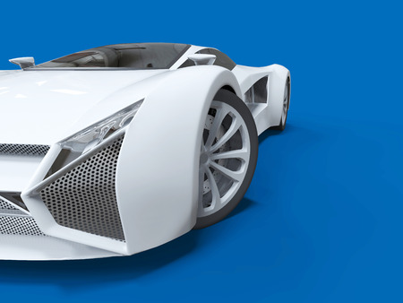 highspeed: Conceptual high-speed white sports car. Blue uniform background. Glare and softer shadows. 3d rendering Stock Photo