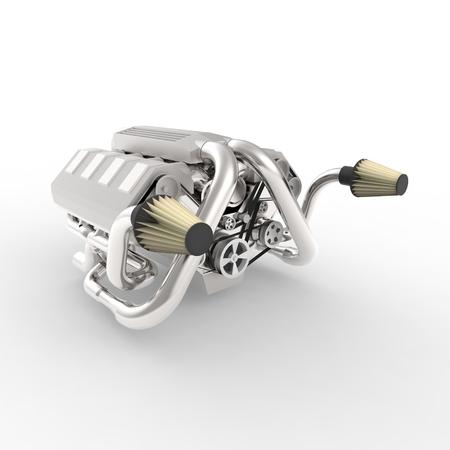 v8: Brilliant large automotive V8 engine with a turbocharger. 3d rendering
