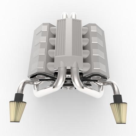 turbocharger: Brilliant large automotive V8 engine with a turbocharger. 3d rendering