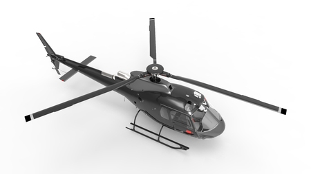 white uniform: Black civilian helicopter on a white uniform background. 3d illustration