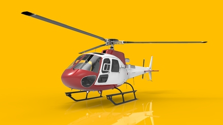 Red-white civilian helicopter on a yellow uniform background. 3d illustration