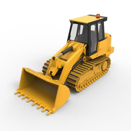 backhoe loader: Excavator on a white uniform background. Backhoe loader. 3d illustration Stock Photo